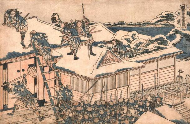 The ronin assaulting Kira's residence, by Hokusai.