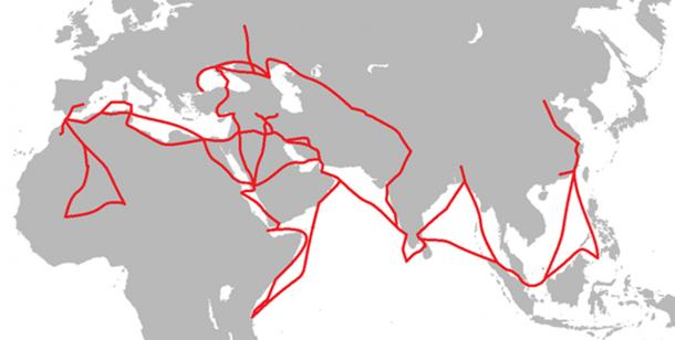 The routes traveled by Ibn Battuta. (Weetjesman / CC BY-SA 4.0)
