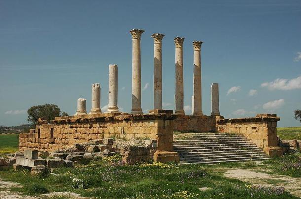 The ruins of the Capitolium in Thuburbo Maius, Tunisia.