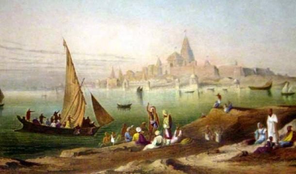 Painting by Grinlay's (1826-1830) of 'The sacred town and temples of Dwarka.'