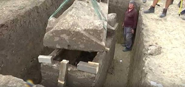 The sarcophagus was discovered intact and seemingly undisturbed for 2000 years. (Youtube Screenshot)