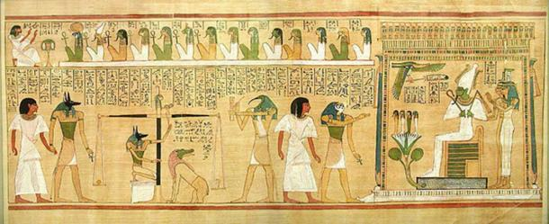 The scribe Hunefer is conducted to the balance by jackal-headed Anubis, who also weighs the heart against the feather of truth. The ibis-headed Thoth records the result. Ammit, which is composed of the deadly crocodile, lion, and hippopotamus watches. In the next panel, showing the scene after the weighing, a triumphant Hunefer is presented by falcon-headed Horus to the shrine of the green-skinned Osiris accompanied by Isis and Nephthys. 14 gods are shown above as judges. (Public Domain)