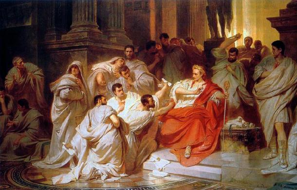 The senators encircle Caesar, a 19th-century interpretation of the event by Carl Theodor von Piloty. (Alonso de Mendoza / Public Domain)