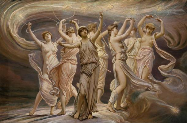 The seven maidens representing the Pleiades in Greek mythology