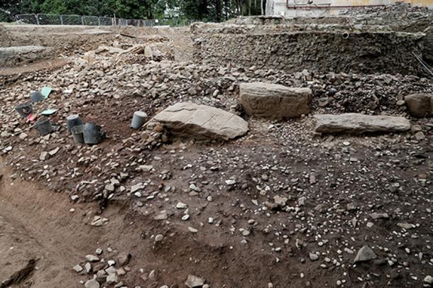 The site of the passage tomb under excavation. (Devenish Nutrition)