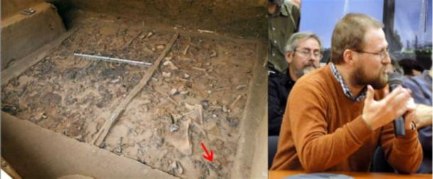The site where the figurine was found and Dr Gavrilov, the deputy head of Stone Age Archeology department of Archeology Institute, Moscow.