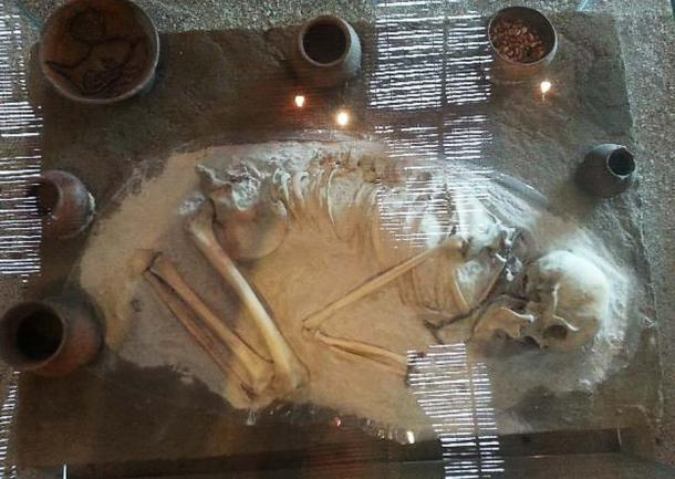 The skeleton of a woman who was buried at Cochasquí. (Alicia McDermott)