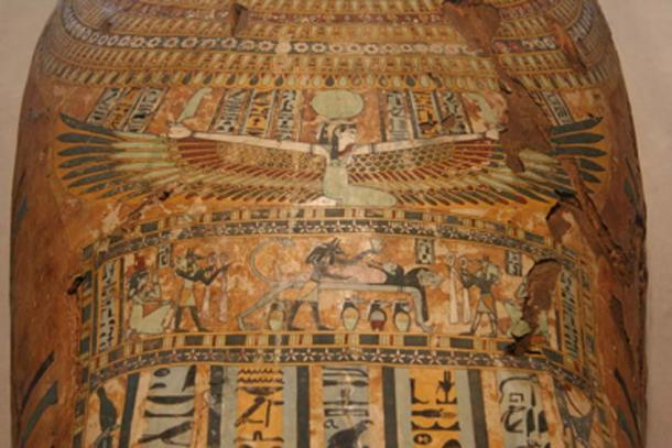 The sky-goddess Nut with outstretched wings, depicted on an Egyptian mummy coffin. (Jonathunder / Public Domain)