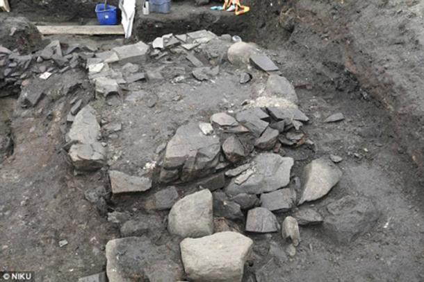 The slab which archaeologists believe may have been the base of the altar where King Olaf Haraldsson's coffin was laid.