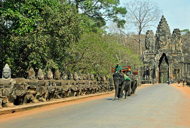 The south gate - the best-preserved gate of Angkor Thom, showing the left side 54 god statues