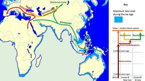 The spread and evolution of Denisovans based on evidence available in 2014. (John D. Croft / CC BY SA 3.0)
