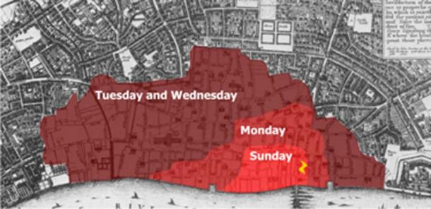 The spread of the Great Fire of London. (Bunchofgrapes / CC BY-SA 3.0)
