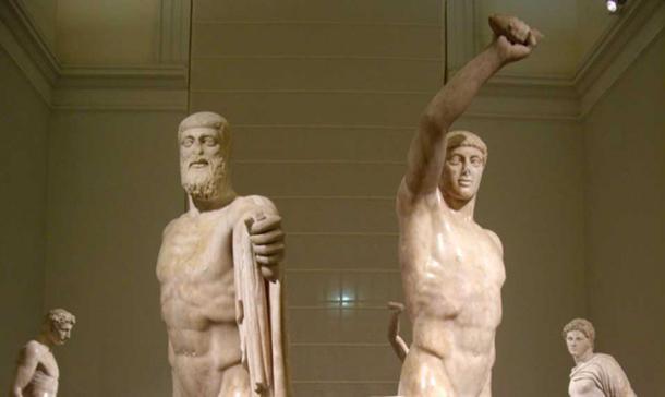 The statues of Harmodius and Aritogeiton, the Tyrannicides.