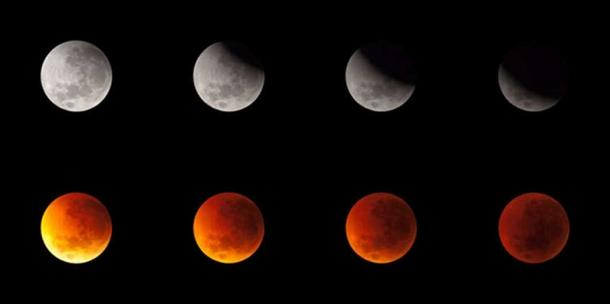 The steady progression of an eclipse as the Moon drifts into the Earth's shadow, June 16, 2011.