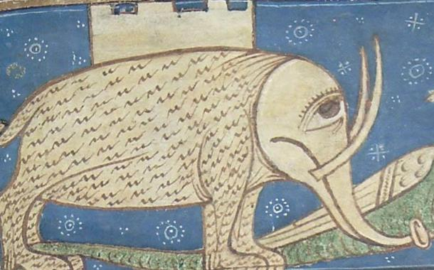 The stoic elephant, war tower on its back, pursues a green, winged dragon. Circa 13th century.