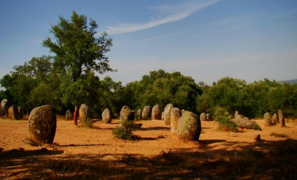 The stone circle of Almendres Cromlech, Portugal