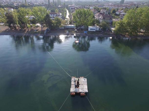The submerged holy building has been found in Lake Iznik in Turkey. (Image: Mustafa Şahin/Lake Iznik Excavation Archive)