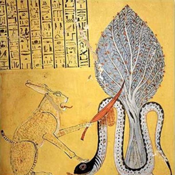 The sun god Ra, in the form of great cat, slays the snake Apep, the moon. Legend states that every day Apep must lay below the horizon and not persist in the mortal kingdom. But Apep comes out at night and lurks just before dawn. (DingirXul / Public Domain)