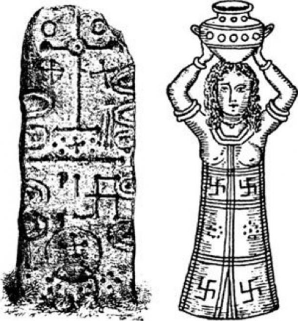 The swastika, the Phoenician sun symbol, on the Phoenician Craig-Narget stone in Scotland, and on the robe of a Phoenician high priestess. (Source)