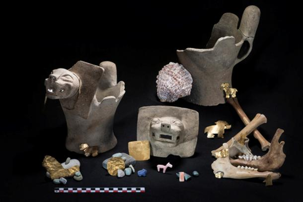 The team found ritual offerings consisting of ceramic feline incense burners; sacrificed juvenile llamas; and gold, shell and stone ornaments. (Teddy Seguin)