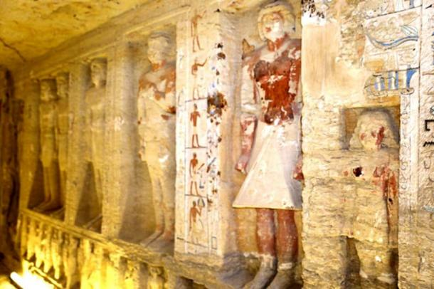 The tomb contains 24 statues on the upper level and 31 statues on the lower level. (Egyptian Ministry of Antiquities)