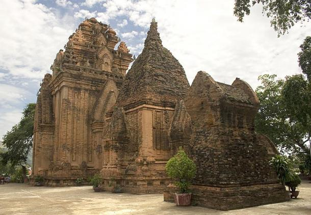 The towers of Po Nagar are located on a hill in Southern Vietnam.