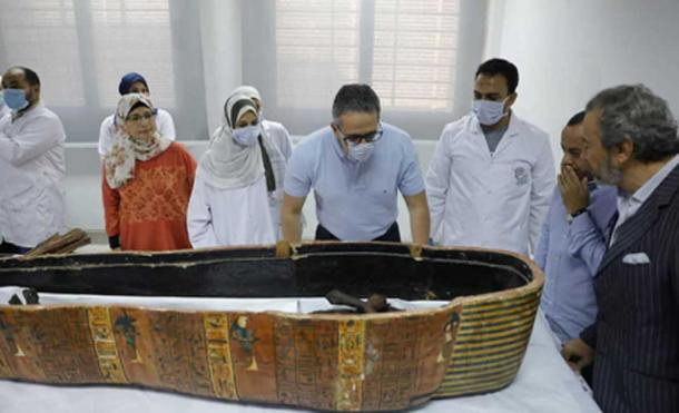 The two Egyptian mummies were inside colored wooden sarcophagi. (Ministry of Antiquities)