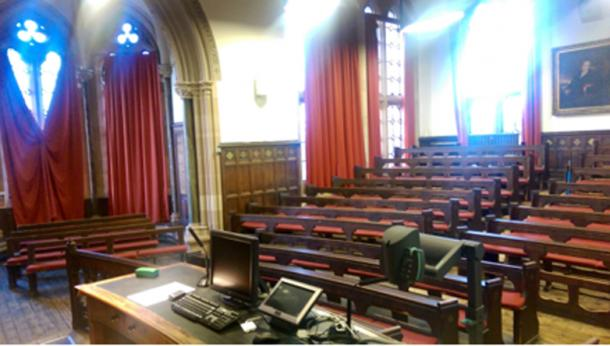 The university's senate room where Sir William had once lectured.