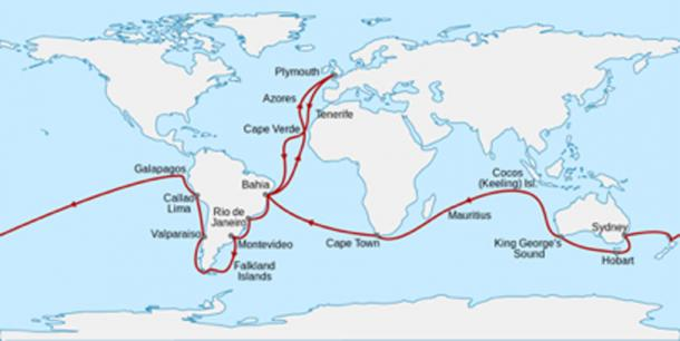 The voyage of the Charles Darwin. (Sémhur / CC BY-SA 4.0)