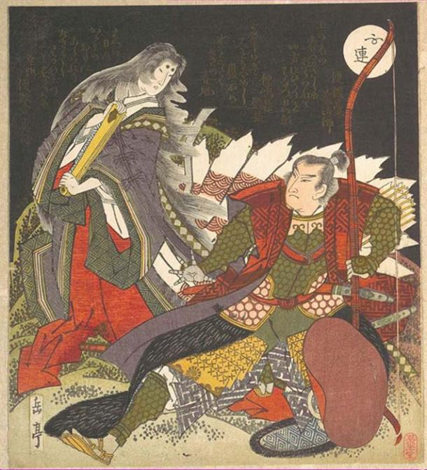 The warrior Miura-no-suke confronting Lady Tamamo-no-mae as she turns into a Kitsune. (Pharos / Public Domain)