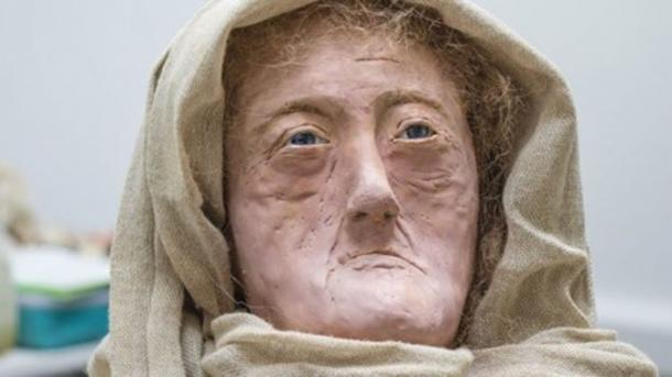 "The wax model of 60 year-old ""Druid of the Hebrides"" produced by Karen Flemming. (University of Dundee)"
