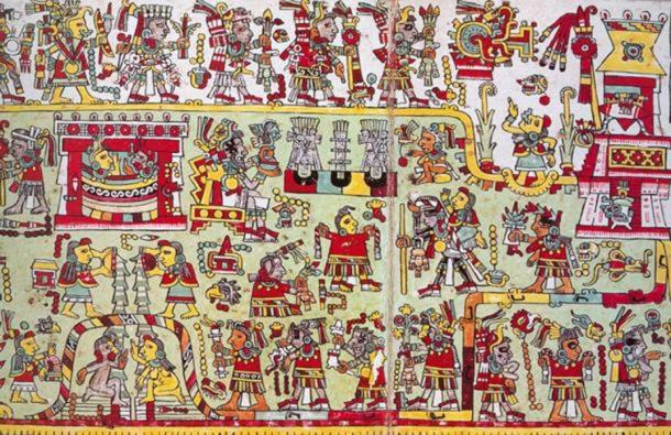 The wedding of 3-Flint and 12-Wind from the Mixtec Zouche-Nuttall Codex