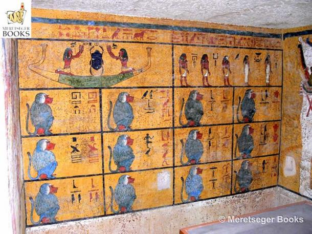 """The west wall of Tutankhamun's tomb is covered with scenes from the Amduat (""""That Which is in the Afterworld""""). In the lower register, 12 squatting Baboon deities symbolise the 12 hours of the night through which the sun and king must travel before achieving rebirth at dawn. (Photo: Meretseger Books)"""