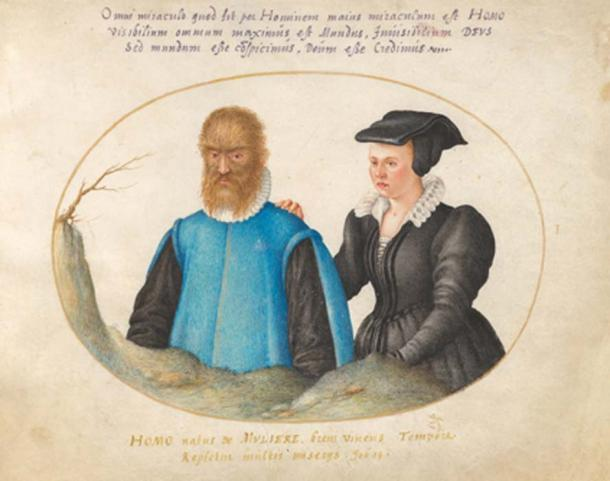 The wild man, Petrus Gonsalvus and his wife, Lady Catherine. (Aavindraa / Public Domain)
