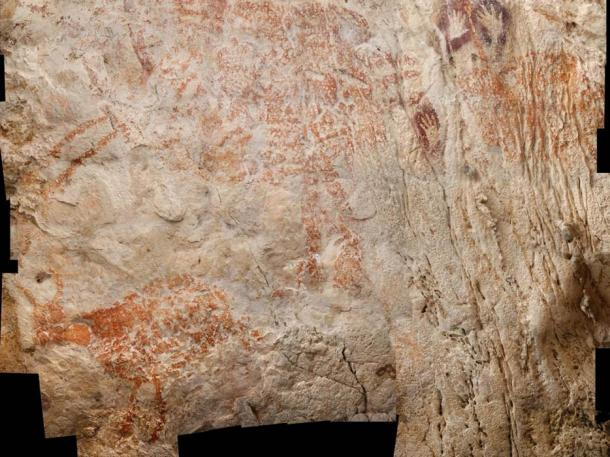 The world's oldest figurative artwork from Borneo, depicting cattle-like creatures and dated to a minimum of 40,000 years. Image: Luc-Henri Fage