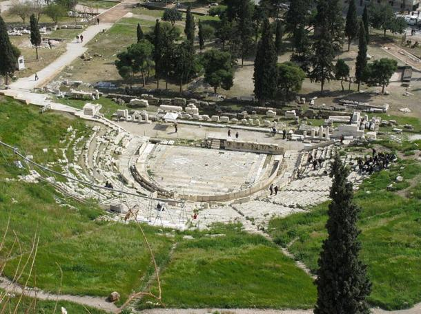 Ruins of the Theater of Dionysus in Athens, Greece.