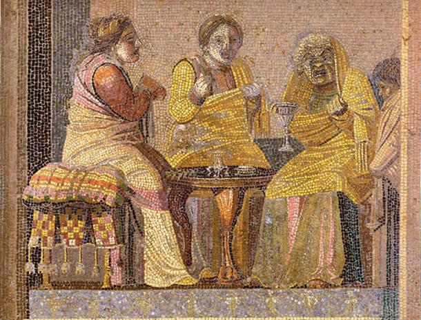 Theater scene: two women and a witch (all three wearing masks). Roman mosaic from the Villa del Cicerone in Pompeii, now in the Museo Archeologico Nazionale (Naples)