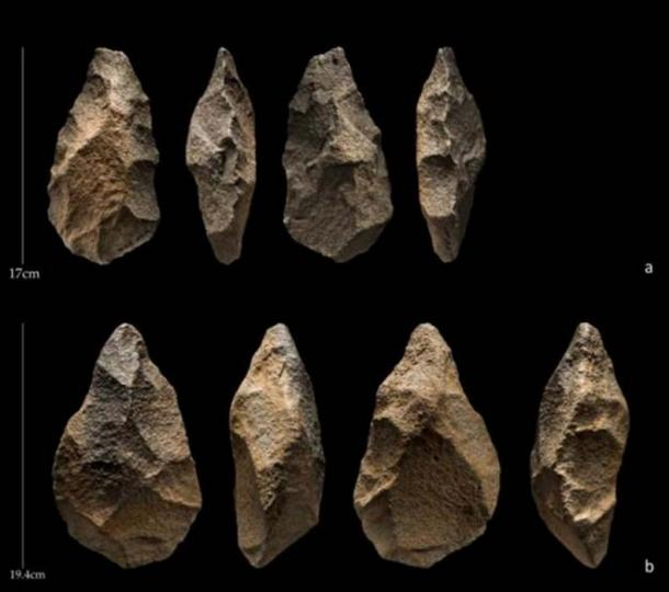 These are handaxes from the site of Saffaqah, Saudi Arabia. (Palaeodeserts/ Ian R. Cartwright)
