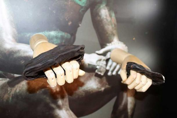 These are leather boxing gloves from the Roman period.