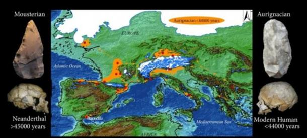 These are selected archaeological sites in Western Europe with Aurignacian industries actually or potentially older than 42,000 years, including Bajondillo Cave (Spain). Orange arrows indicate potential expansion routes across Europe at low sea level. Images on the left show a Neanderthal skull (La Chapelle-aux-Saints, France) and a Mousterian tool recovered at Bajondillo Cave. On the right the images show a Modern Human skull (Abri-Cro-Magnon, France) and an Aurignacian tool recovered at Bajondillo Cave. (University of Seville)