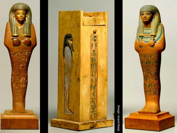 These superb, partially gilded and painted cedar shabtis of Yuya, father-in-law of Amenhotep III, were discovered during excavations by Quibell and Weigall in 1905. (Center) Shabti box of Yuya. Metropolitan Museum of Art, New York.