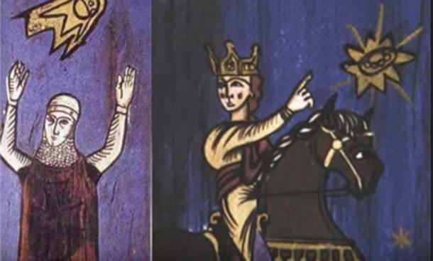 These tapestries of two crusaders dates from the 12th century. (RayLovesRomania / YouTube)