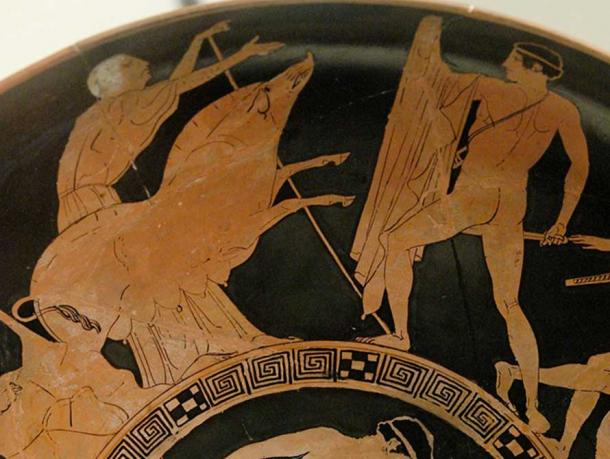 Theseus and the Crommyonian Sow, with Phaea.