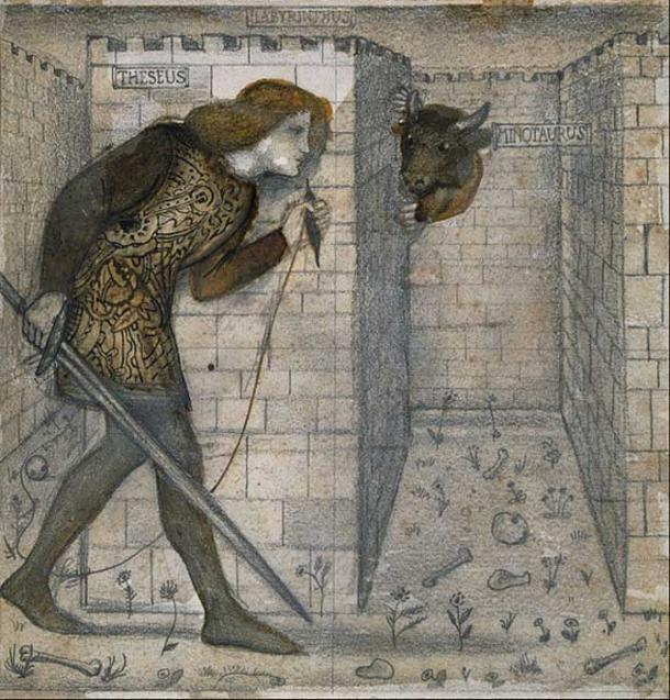 Theseus and the Minotaur in the Labyrinth (1861) by Edward Burne-Jones.