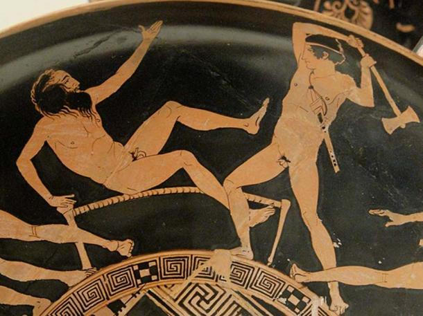Theseus fighting Prokrustes. Surround of the tondo of an Attic red-figured kylix, ca. 440-430 BC. Said to be from Vulci.