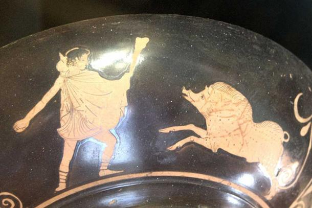 Theseus fighting against the Crommyonian Sow