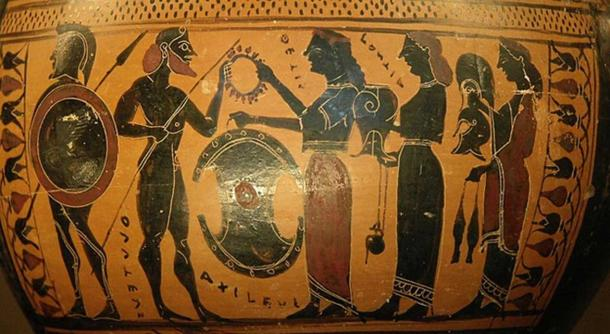 Thetis giving her son Achilles weapons forged by Hephaestus. Detail on an Attic black-figure hydria from 575–550 BC.
