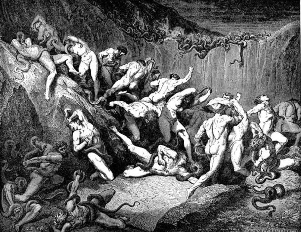 Thieves tortured by serpents (1857) Gustave Doré