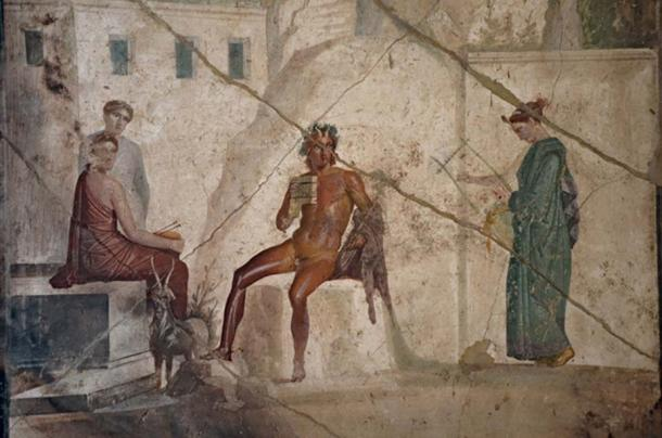 Third Style fresco depicting Pan playing the flute accompanied by a nymph playing the lyre, from the House of Jason in Pompeii, Naples National Archaeological Museum