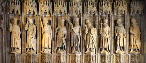 "Thirteenth century carving ""Nine Good Heroes."""
